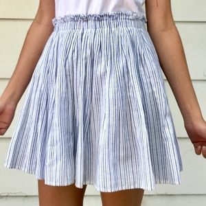 Zara skirt white & light blue A-line with pockets!